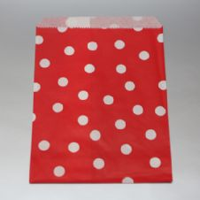 White dots Red Party bitty bags Set of 25/ Άσπρο πουά κόκκινα χαρτινα σακουλακια Σετ των 25